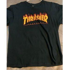 A black thrasher shirt